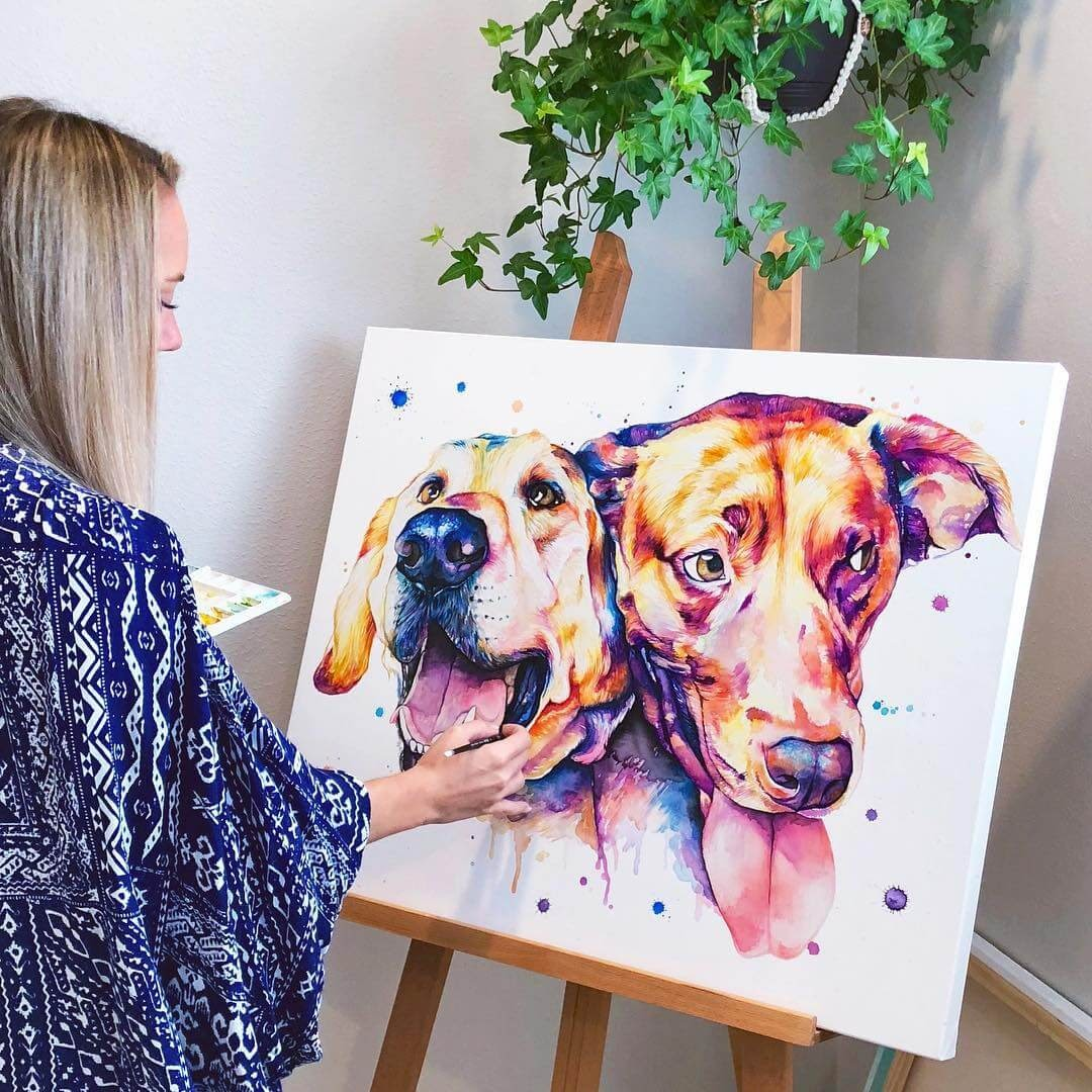 03-Dogs-Lindsay-Michelle-Colorful-Domestic-and-Wild-Animal-Paintings