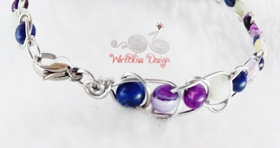 Wire wrapped Infinity Bracelet with Amethyst, Lapis Lazuli and Amazonite