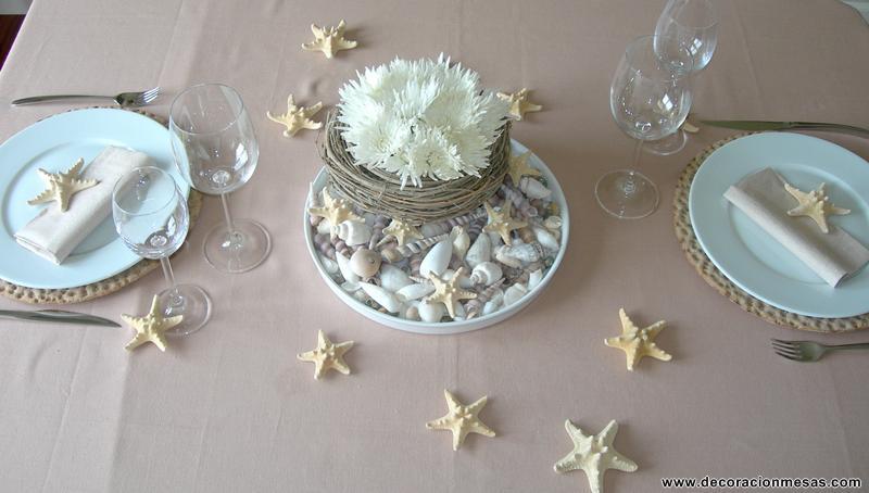 Decoracion de mesas Mesa con conchas de mar