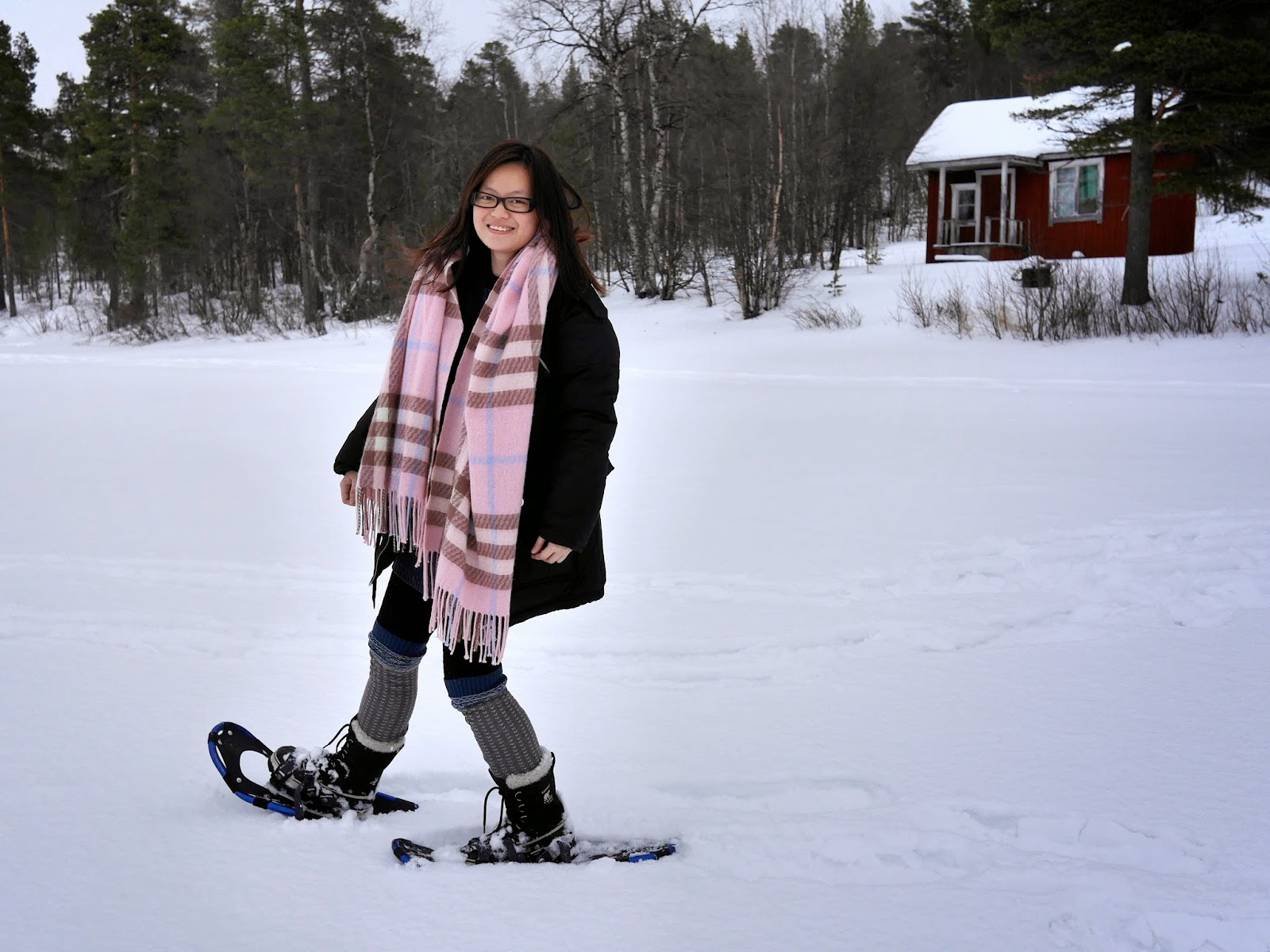 Snowshoeing at Lake Menesjarvi, Finnish Lapland