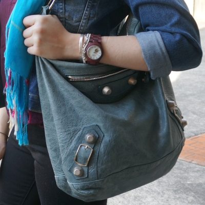 denim jacket, Balenciaga giant hardware Day bag in 2009 tempete | Away From The Blue