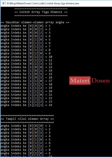 Contoh program array 3 dimensi C++