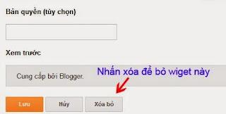 """Lúc chúng ta tạo một site blogspot nhiều người thường hỏi làm sao để xóa được chữ """"Cung cấp bởi Blogger"""", hôm nay mình viết một bài hướng dẫn đơn giản để xóa thuộc tính bản quyền của blogspot.  Demo hiển thị trên blog xoa-cung-cap-boi-blogger Xóa cung cấp bởi blogger Click vào phần chỉnh sửa ở bố cục thì không hiển thị nút """"Xóa"""", mục tiêu ta sẽ hiển thị nút XÓA  Xóa bỏ """"Powered by Blogger"""" cho blogspot cực đơn giản Tích hợp bình luận Facebook vào blogspot Hướng dẫn thêm nút like, tweet, +1, share vào cuối bài viết Hướng dẫn trỏ tên miền riêng cho blogspot – blogger Hướng dẫn tạo Blogspot/Blogger và tổng quan về Blogspot Cấu hình widget cung cấp bởi blogger Cấu hình widget cung cấp bởi blogger Lý do: Đây là Widget mặc định trên tất cả giao diện của Blogger cho dù là copy file XML thay vì import thì Blogger vẫn cứ tạo ra.  Cách xóa phần cung cấp bởi Blogger: Bạn vào phần mẫu –> Click chỉnh sửa HTML –> Nhấn Ctrl + F (Blogger sẽ hiển thị cho bạn thanh tìm kiếm, hoặc Ctrl + F thì sử dụng tính năng tìm kiếm trên trình duyệt)  Xóa thuộc tính bản quyền của blogspot Xóa thuộc tính bản quyền của blogspot Nhấn từ tìm kiếm: Attribution  Chú ý dòng:      <b:widget id='Attribution1' locked='true' title="""" type='Attribution'> 1 <b:widget id='Attribution1' locked='true' title="""" type='Attribution'> Thay phần locked='true' thành locked='false'  Nhấn Lưu  Quay trở lại trang chủ Blog, nhấn F5 để tải lại Blog, nhấn vào phần chỉnh sửa Wiget nó sẽ hiện thị nút Xóa bỏ.  Widget cung cấp bởi blogger Widget cung cấp bởi blogger Bước cuối cùng chúng ta lưu lại và xem blog. Chúc các bạn thành công."""