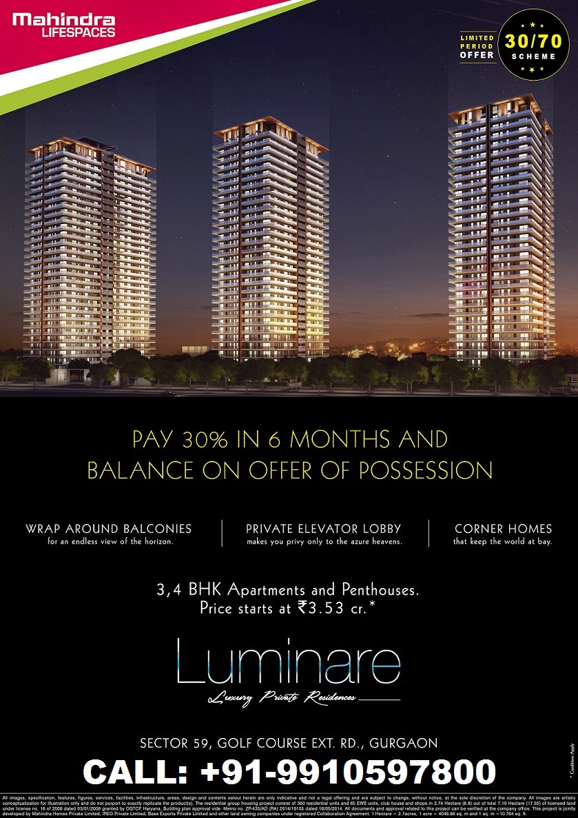 Mahindra New Project Launch in Sector 59, Gurgaon on Golf Course Extension Road, luminare mahindra, mahindra luminare gurgaon, gurgaon luminare mahindra