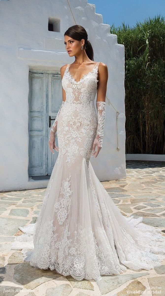 Justin Alexander Spring 2018 Allover Lace Fit and Flare Gown with Illusion Straps and Deep V-Back