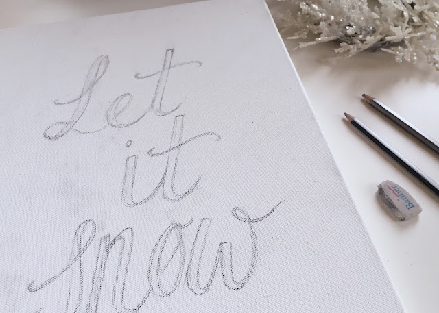 Canvas pencil sketch lettering let it snow
