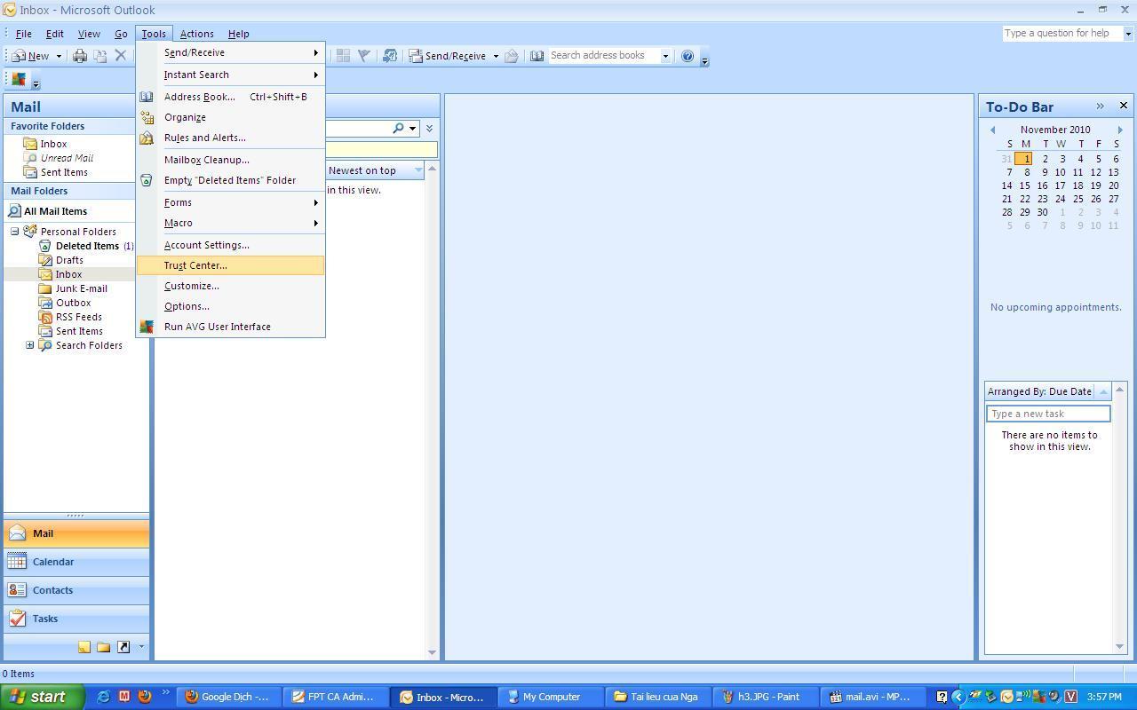 Hướng dẫn ký số trên Microsoft Office Outlook 2007