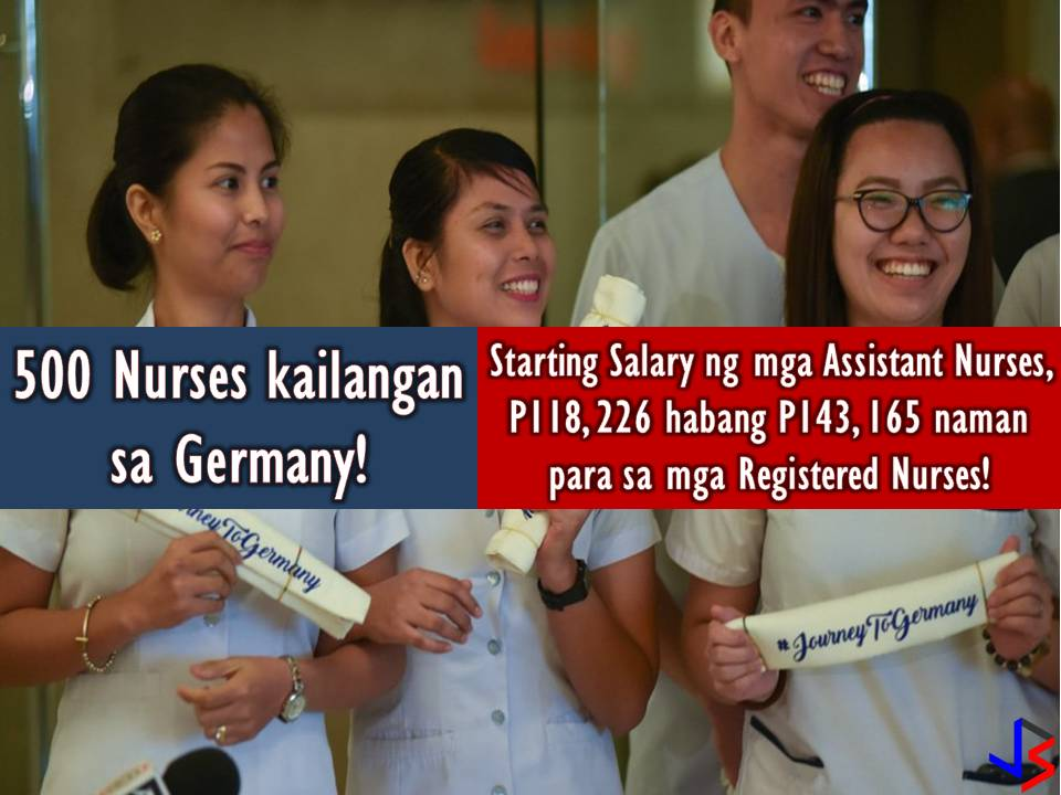 To fill up vacancies in its healthcare industry, Germany needs some 500 Filipino nurses this year. Philippine Overseas Employment Administration (POEA) Administrator Bernard Olalia confirmed the news through DZMM. Olalia said Germany don't have enough healthcare workers. Interested applicants may apply through POEA website or through accredited private recruitment agencies. Hired applicant will get a starting salary of 1, 900 euros or around P118, 266 for assistant nurses or those who have yet to pass Germany's licensure examination. On the other hand, nurses who have passed Germany's licensure exam will get a starting salary of 2, 300 euros or around P143, 165. But the application is not easy because applicants need to pass the German language proficiency test to become registered nurses. Olalia urged the public or those who are interested in working in Germany to check first the POEA's list of accredited recruitment agencies before applying to avoid scams or being a victim of illegal recruiters. Currently, around 480 Filipino nurses are working in Germany.