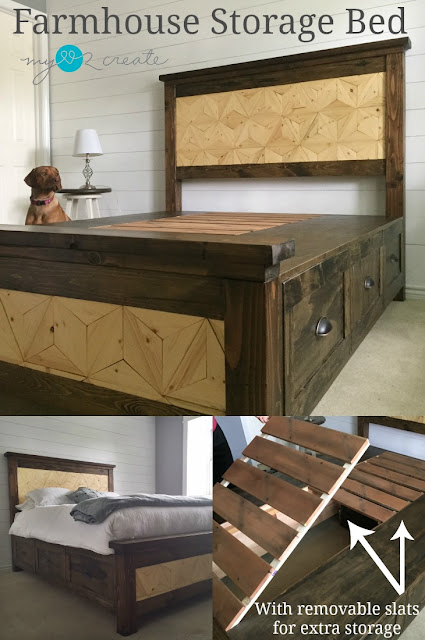 Build your own farmhouse bed complete with Geometric design inlay and removable slats for extra storage!