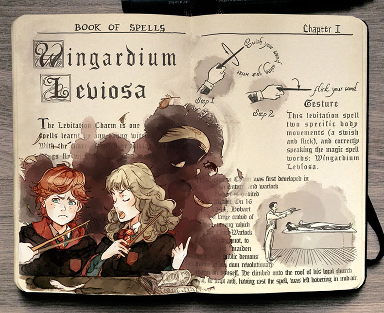 Artista ilustra bellamente los magicos hechizos de 'Harry Potter'