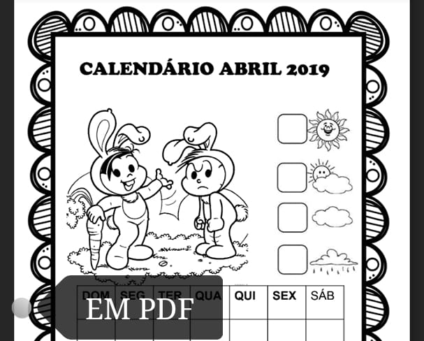 Calendarios Abril 2019 Turma Da Monica