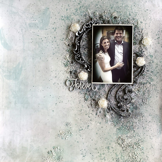 "Monochromatic mixed media scrapbook layout titled ""Forever"" with silver, green, black and white. Acrylic paints, glass beads, gesso. 13arts paper collection Aura Rosa. Wedding photo."