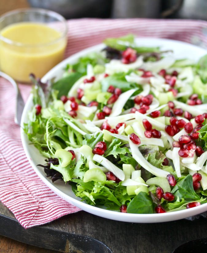 Fennel, Pomegranate, and Baby Greens Salad