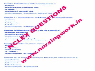 nursing written test sample questions and answers pdf
