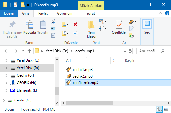 Mp3'leri programsız birleştirme- www.ceofix.com
