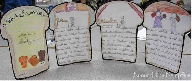 "We wrote ""sandwich summaries"" for Tony's Bread during our Tomie dePaola author study~ Around the Kampfire blog"
