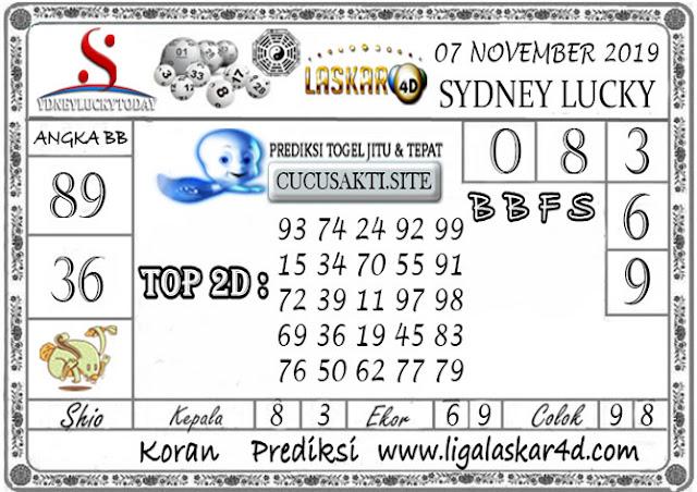 Prediksi Sydney Lucky Today LASKAR4D 07 NOVEMBER 2019