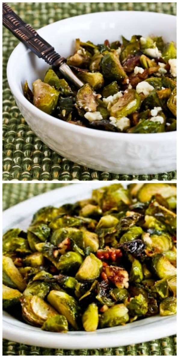 Roasted Brussels Sprouts with Pecans (with or without Gorgonzola Cheese) found on KalynsKitchen.com
