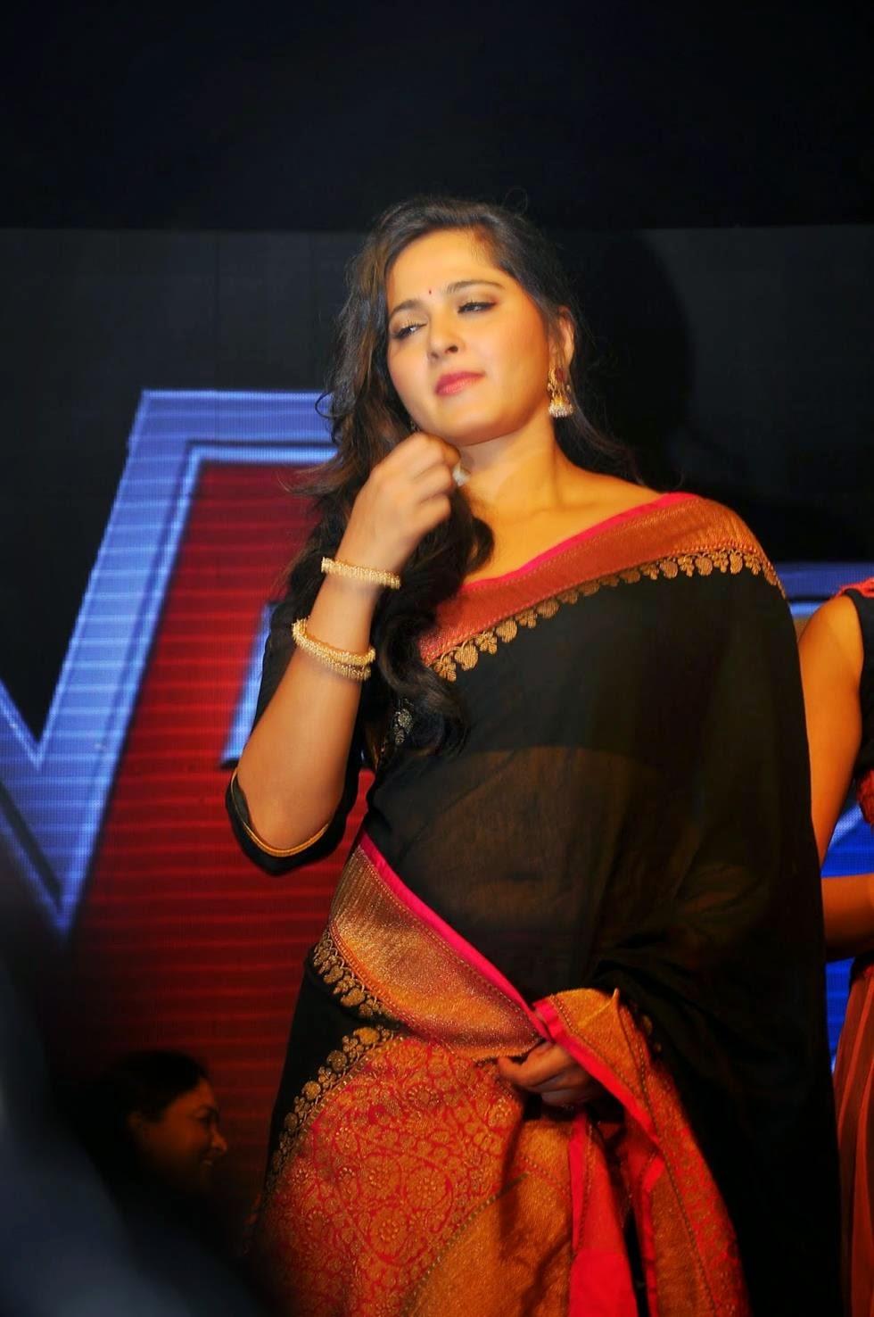 Anushka Shetty Latest Navel Show In Transparent Black