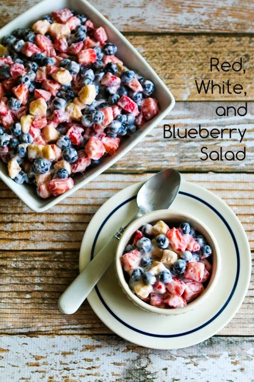 Red, White, and Blue Salad with Blueberries, Strawberries, and Bananas found on KalynsKitchen.com