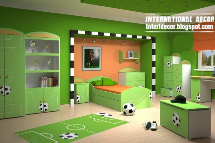 Football Theme For Cool Kids Room, Soccer Kids Bedroom Theme, Green Kids  Room Schemes