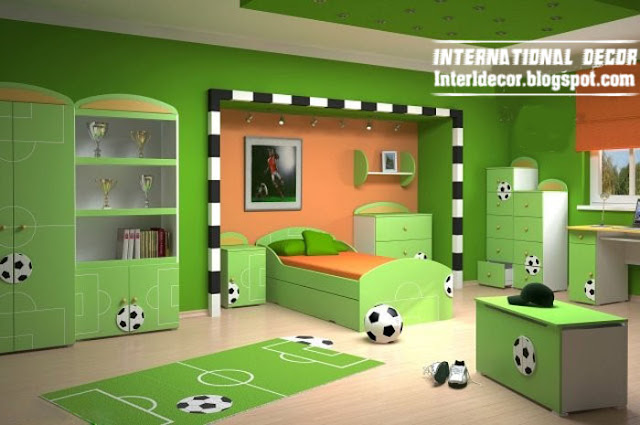 Football Theme For Cool Kids Room Soccer Kids Bedroom Theme Green Kids Room  Schemes