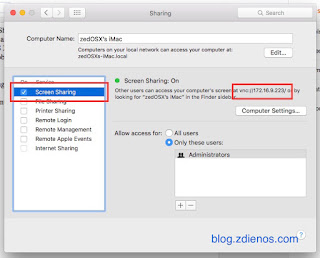 Mengakses Mac OS X melalui Screen Sharing - Screen Sharing Window