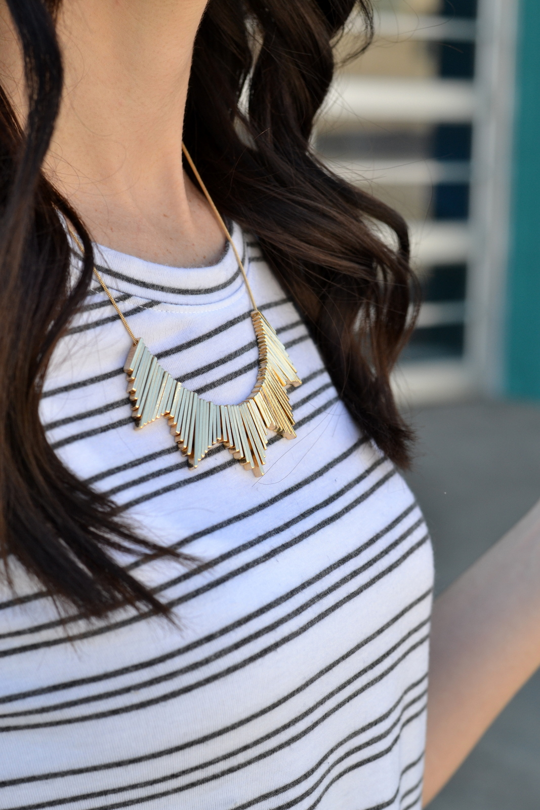 Gold Statement Necklace paired with basic tee