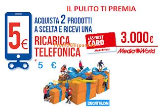 Logo ''Il Pulito Ti Premia'' con buoni Decathlon, ricariche telefoniche come premio certo e vinci buoni spesa