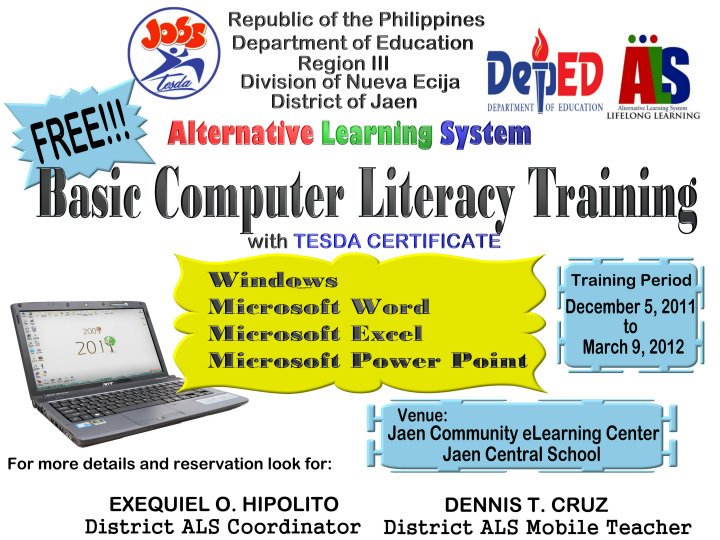 c l s t i basic computer literacy program alternative  basic computer literacy program alternative learning system