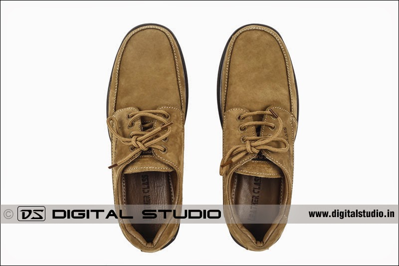 top angle photograph of calf leather shoes