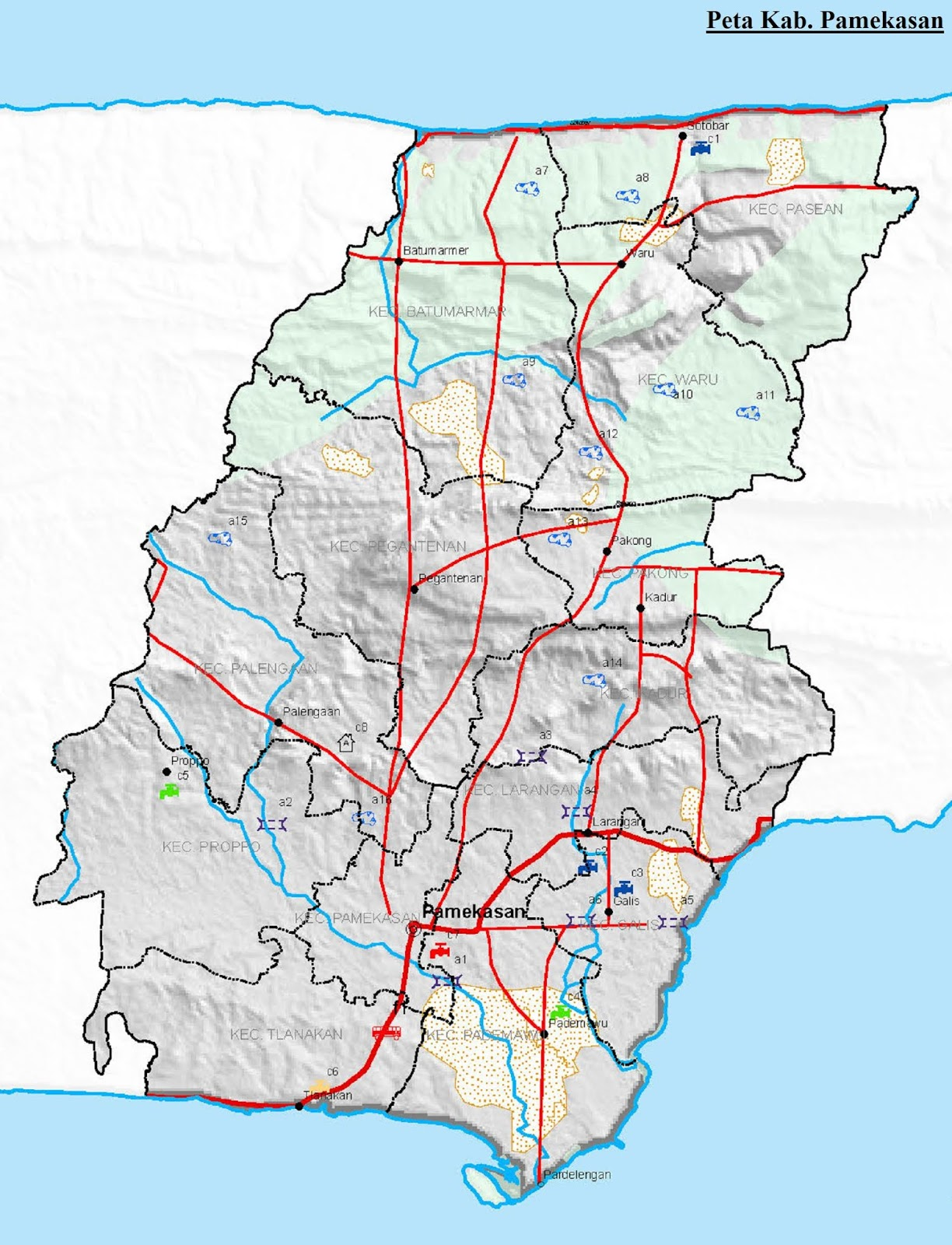 Gambar Peta Kabupaten Pamekasan HD