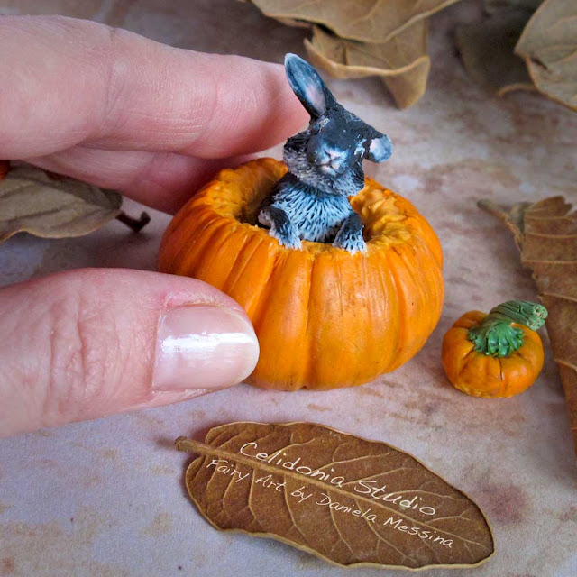 Miniature Pumpkin Rabbit Polymer Clay