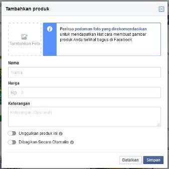 Tambahkan Produk - Toko Online Facebook