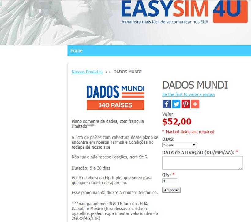 Plano Mundi - Chip de celular para falar dos Estados Unidos - EasySim4U