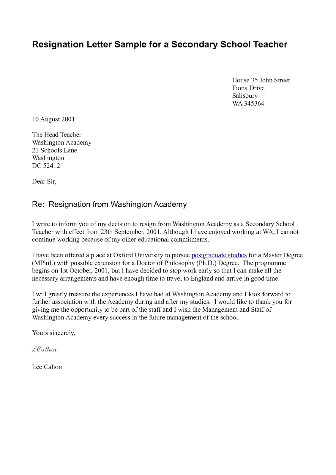 Corporate Resignation Letter Format – Resignation Letters Template