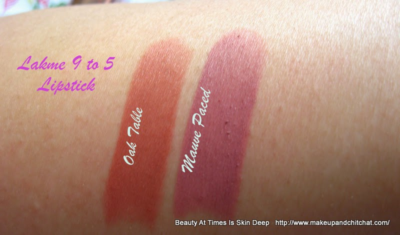 Swatches of Lakme 9to5 matte Lipsticks B2 Oak Table and M3 Mauve Paced