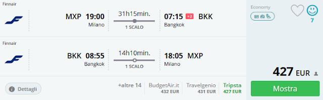 Milano (MXP) - Bangkok a/r a 427 €