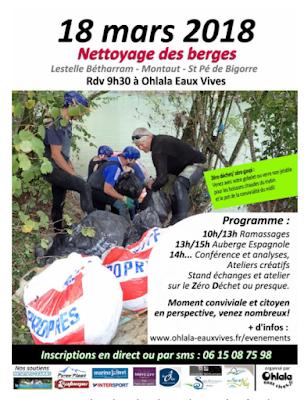 Nettoyage des berges du Gave de Pau 2018 Montaut Béarn Pyrénées