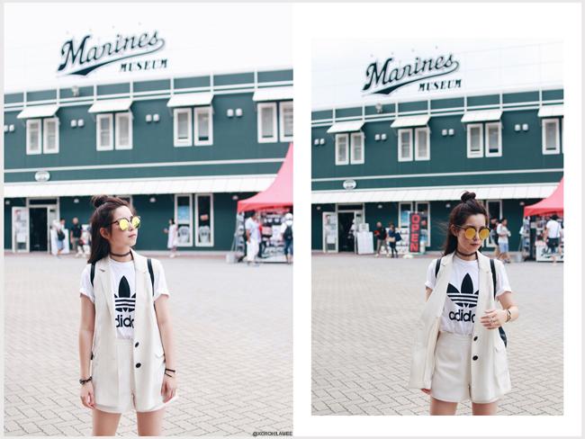 ファッションブロガー日本人、今日のコーデ、アディダス ロゴTシャツ、CHOIESディティールショートパンツ、Moussyロングベスト、ZARAバックパック、RE:EDITポインテッドトゥブーティー キレイめカジュアル、zeroUVミラーサングラス