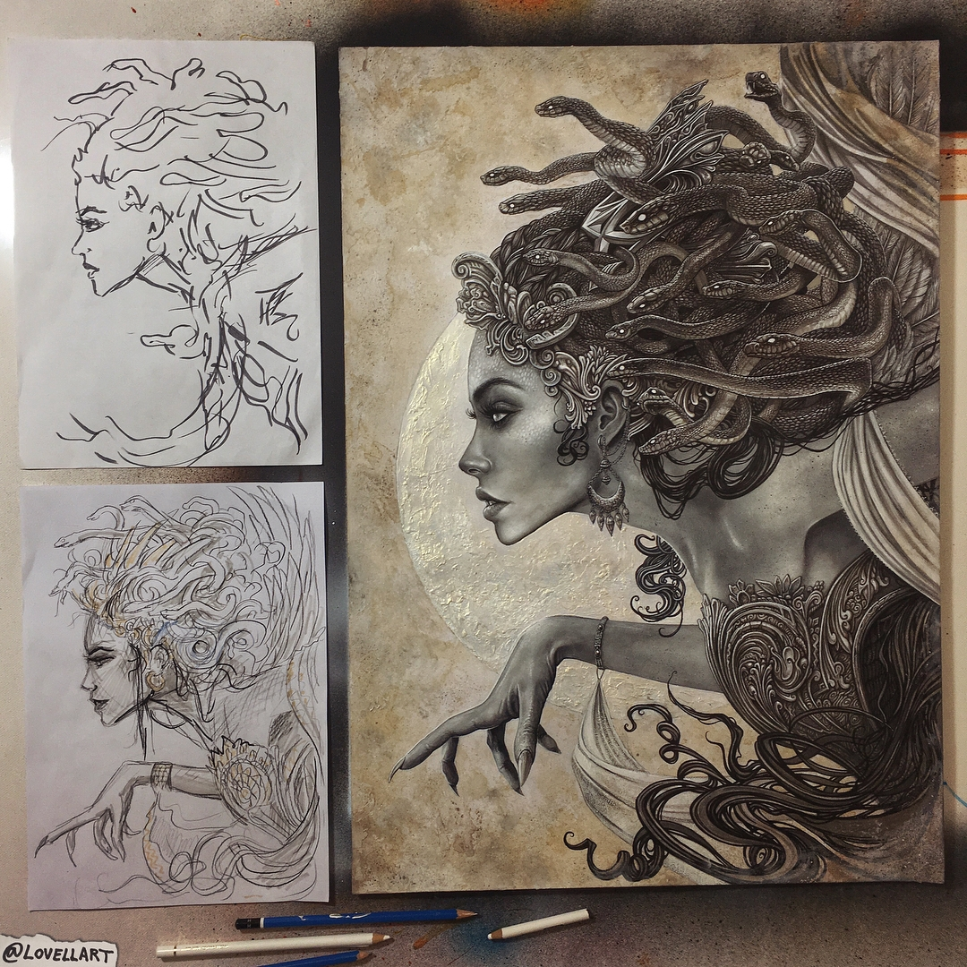 04-Medusa-Christopher-Lovell-Character-Drawings-Portraits-and-Monsters-www-designstack-co