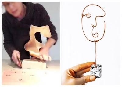 Esculturas de alambre técnicas con rostros y con pantys