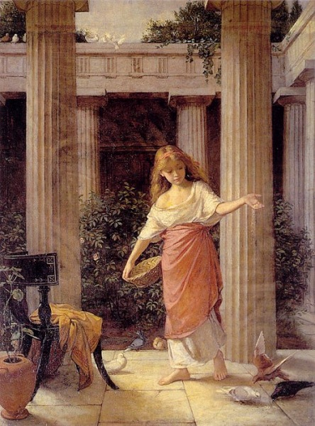 """In the Peristyle"" painting by John William Waterhouse, 1874"