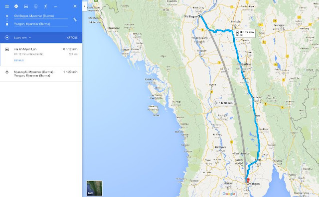 Jarak Yangon - Bagan di Peta