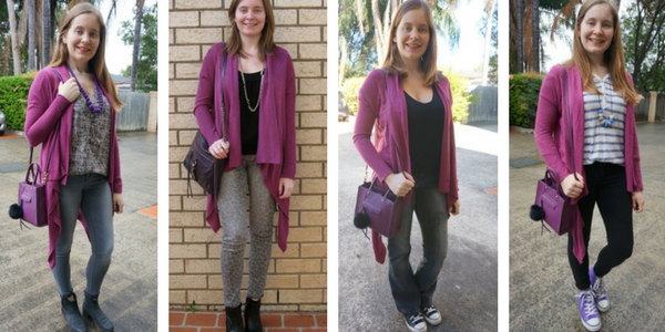 4 outfit ideas to wear purple cardigan with purple bag | away from the blue