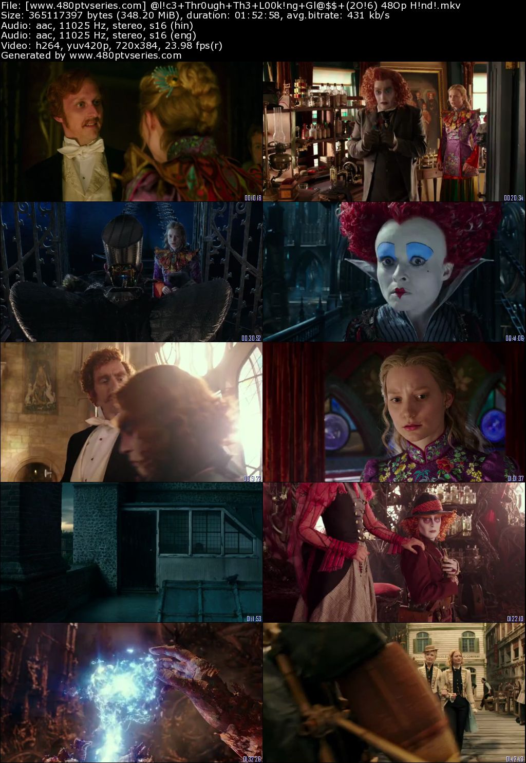 Alice Through the Looking Glass (2016) 350MB Full Hindi Dual Audio Movie Download 480p Bluray Free Watch Online Full Movie Download Worldfree4u 9xmovies