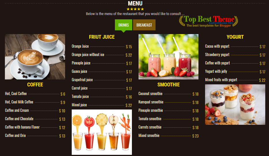 VCoffee Shop Blogger Template for Coffee shop website