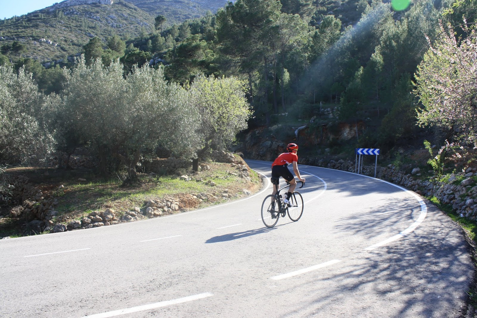 Penultimate hairpin bend on climb of Coll de Rates from Parcent