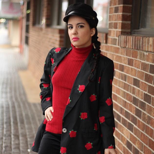 Rose Print Silk Jacket