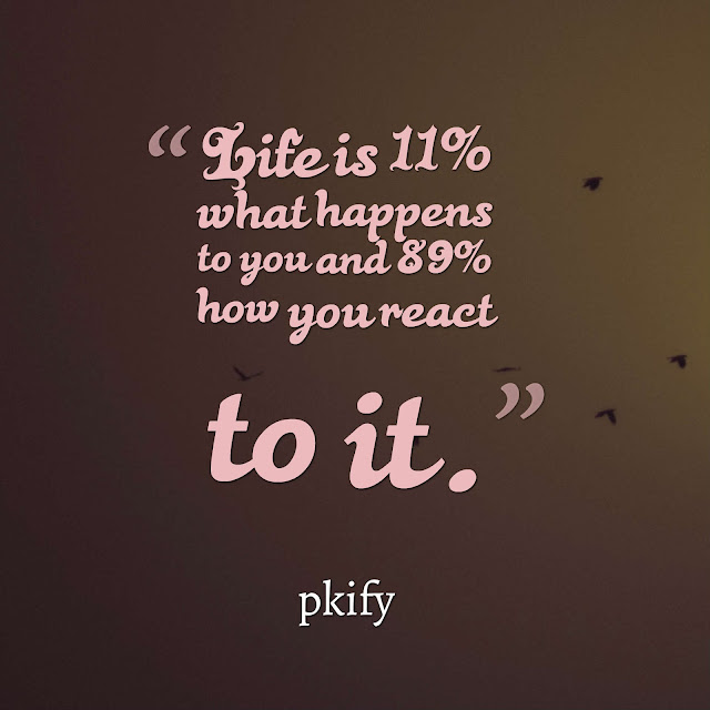 Life is 11% What Happens To You  And  89% How You React To It Motivational Quotes